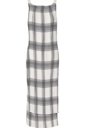 HELMUT LANG Checked plissé-crepe de chine midi dress