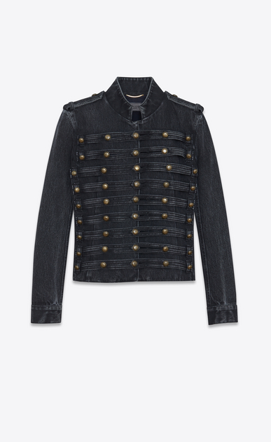 SAINT LAURENT Casual Jackets Woman Officer vest in faded black denim a_V4