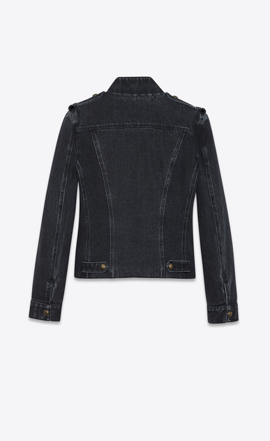 SAINT LAURENT Giacche Casual Donna Gilet officer in denim nero délavé b_V4