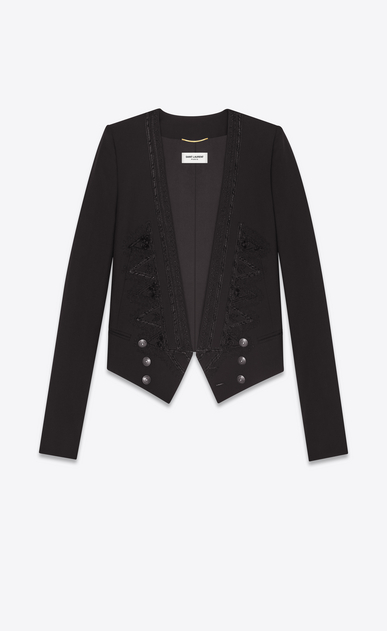 SAINT LAURENT Blazer D Giacca ricamata spencer in gabardine nera a_V4