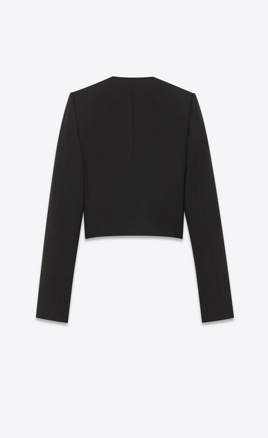 SAINT LAURENT Blazer D Giacca ricamata spencer in gabardine nera b_V4