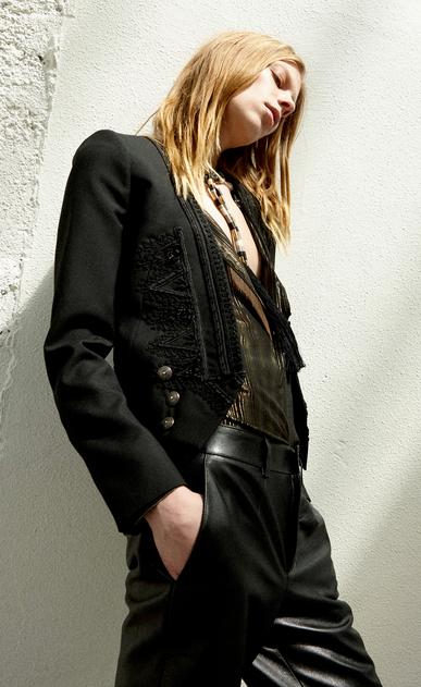 SAINT LAURENT Blazer Jacket Woman Embroidered Spencer jacket in black gabardine x_V4