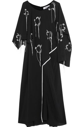 CHALAYAN Valance layered embroidered crepe dress
