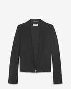SAINT LAURENT Blazer Jacket D Spencer jacket with shawl collar in black gabardine f