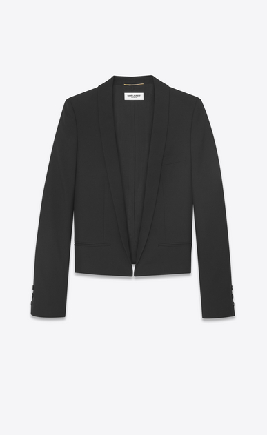 SAINT LAURENT Blazer Donna Giacca spencer con collo a scialle in gabardine nera a_V4