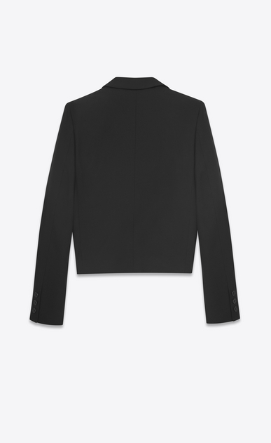 SAINT LAURENT Blazer D Giacca spencer con collo a scialle in gabardine nera b_V4