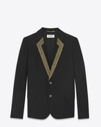 SAINT LAURENT Blazer Jacket D Short jacket in black gabardine with embroidered collar f