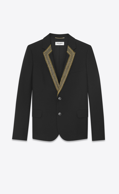 SAINT LAURENT Blazer Jacket D Short jacket in black gabardine with embroidered collar a_V4