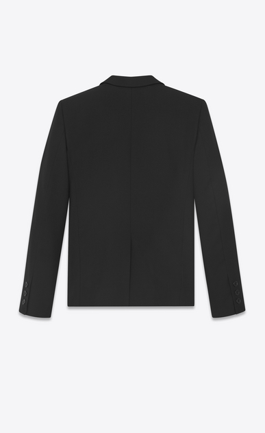 SAINT LAURENT Blazer Jacket D Short jacket in black gabardine with embroidered collar b_V4
