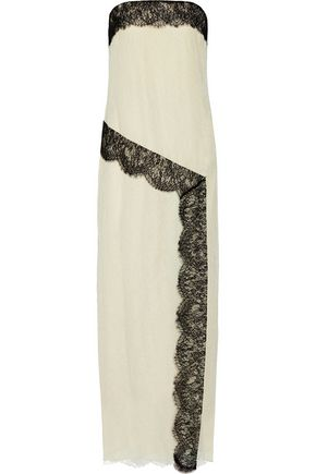 WES GORDON Strapless lace and silk-crepe gown