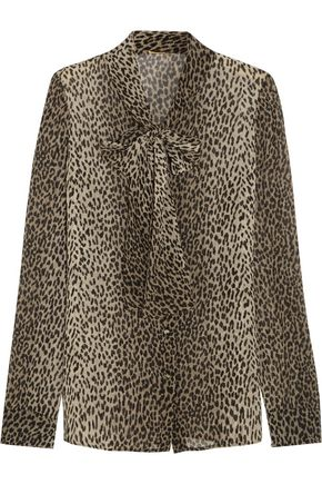 8158f94314c35 SAINT LAURENT Pussy-bow leopard-print silk-georgette shirt ...