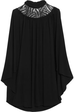 SAINT LAURENT Cape-back embellished stretch-jersey mini dress