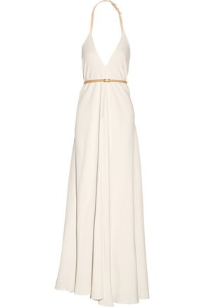 VICTORIA BECKHAM Leather-trimmed cady gown