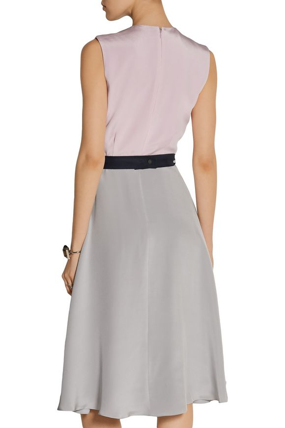 Sessler color-block pleated silk-crepe dress | ROKSANDA | Sale up to 70% off  | THE OUTNET