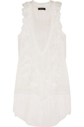 ISABEL MARANT Rafael mesh-paneled silk-georgette mini dress