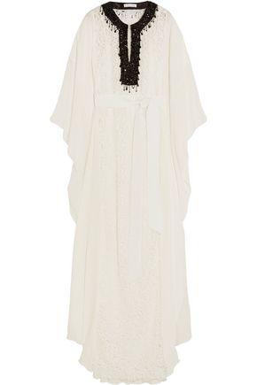 OSCAR DE LA RENTA Embellished guipure lace and silk crepe de chine maxi dress