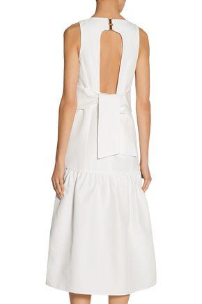 TIBI Open-back faille midi dress