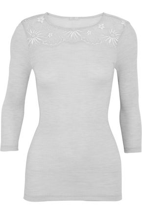 HANRO Seraphina Leavers lace-paneled ribbed wool and silk-blend jersey top