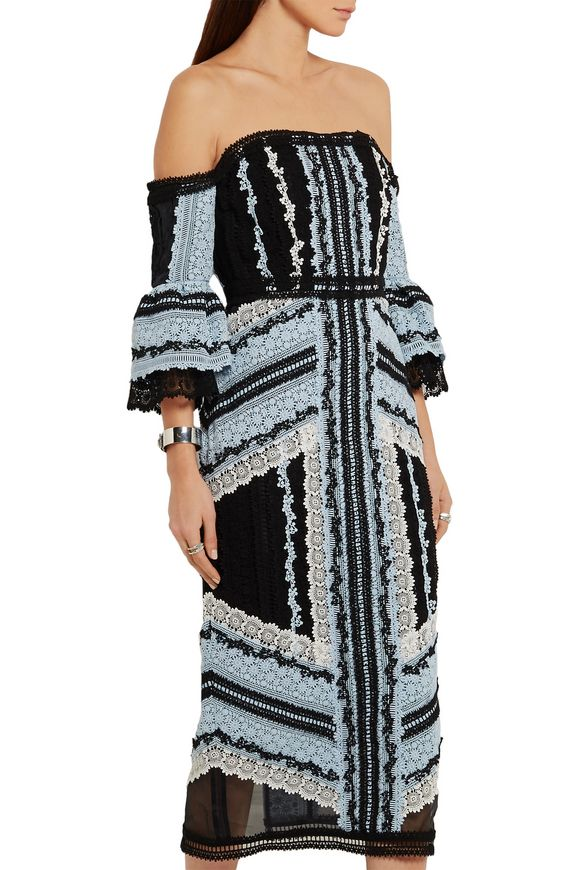 Sissy off-the-shoulder cotton and silk-blend lace midi dress | ERDEM | Sale  up to 70% off | THE OUTNET