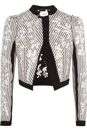 ERDEM Brice embroidered striped cotton jacket