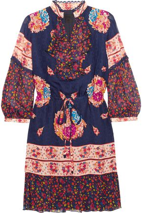 ANNA SUI Printed silk-jacquard and silk-crepon mini dress