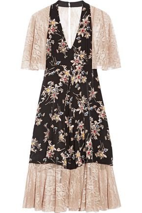 ANNA SUI Paneled printed silk crepe de chine and lace dress