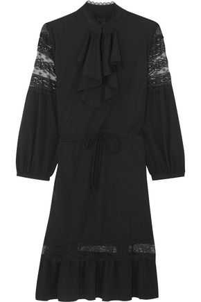 ANNA SUI Ruffled lace-trimmed crepe de chine mini dress