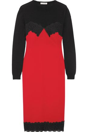 ALTUZARRA Debbie lace-trimmed merino wool and crepe dress