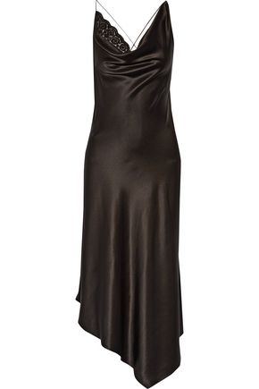 ALTUZARRA Moonshine embellished tulle-trimmed asymmetric stretch-silk dress