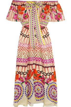 TEMPERLEY LONDON Dream Catcher printed hammered silk-satin dress