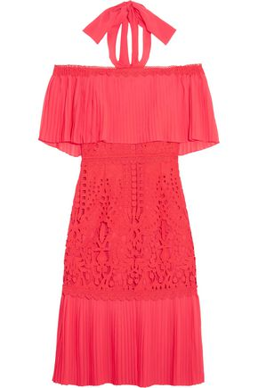 TEMPERLEY LONDON Berry off-the-shoulder chiffon and guipure lace dress
