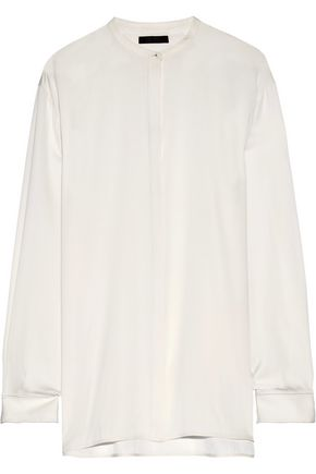 THE ROW Cola stretch-silk crepe shirt