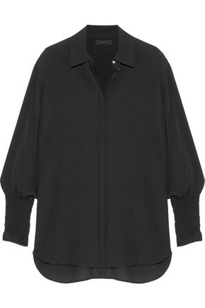 THE ROW Seenu smocked silk-crepe shirt