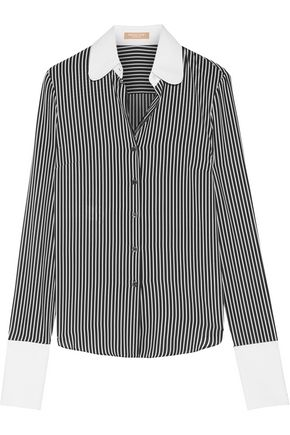 MICHAEL KORS COLLECTION Poplin-trimmed striped silk crepe de chine shirt