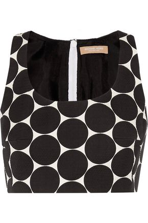 MICHAEL KORS COLLECTION Cropped polka-dot cotton and silk-blend matelassé top