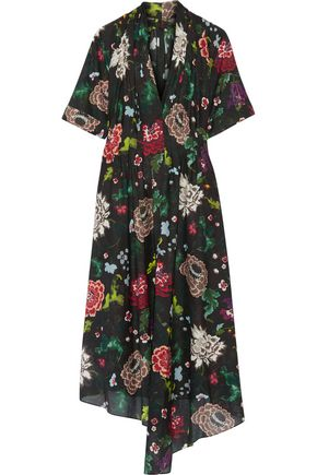 ADAM LIPPES Gathered floral-print cotton-voile dress