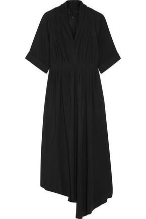 ADAM LIPPES Asymmetric wrap-effect crepe midi dress