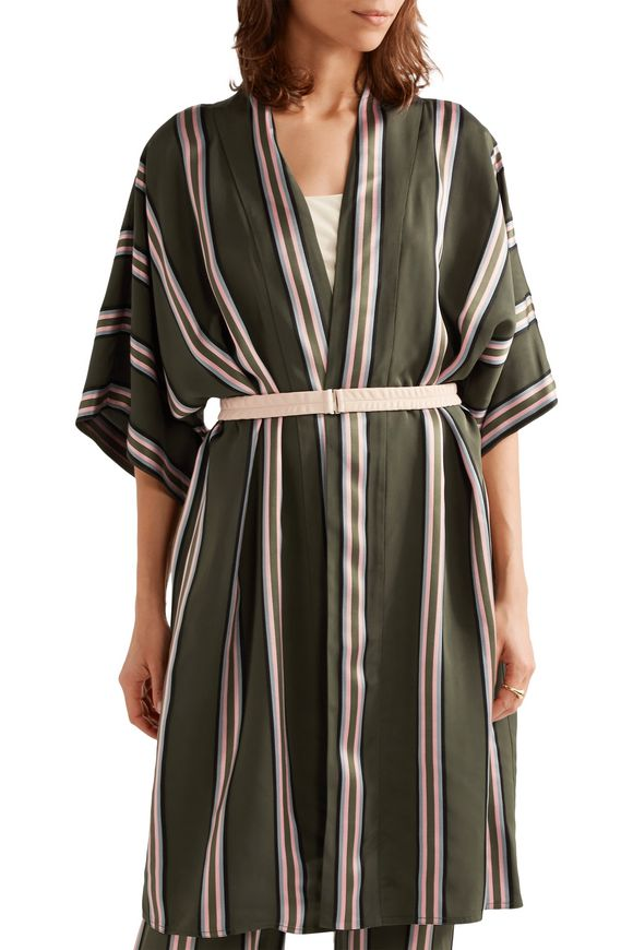 Belted striped satin-trimmed twill jacket | ADAM LIPPES | Sale up to 70% off  | THE OUTNET