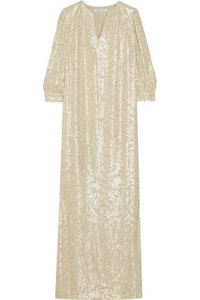 ELIZABETH AND JAMES Melaney metallic fil coupé silk-blend kaftan