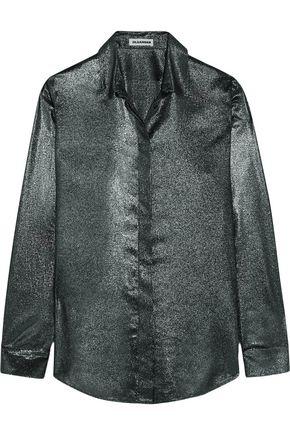 JIL SANDER Silk-blend lamé shirt