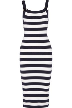 MICHAEL KORS COLLECTION Striped stretch merino wool-blend dress
