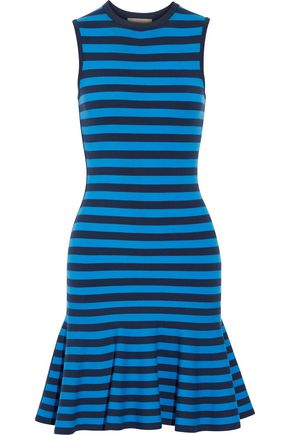 MICHAEL KORS COLLECTION Striped stretch-knit mini dress