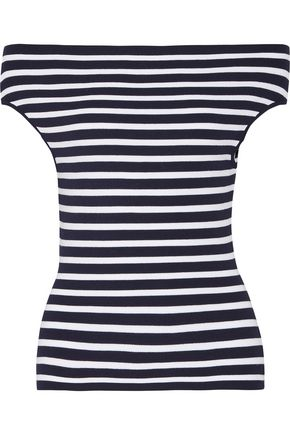 MICHAEL KORS COLLECTION Off-the-shoulder striped stretch-knit top