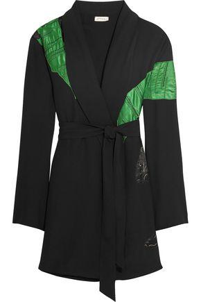 ATTICO Lauren satin-appliquéd crepe mini wrap dress