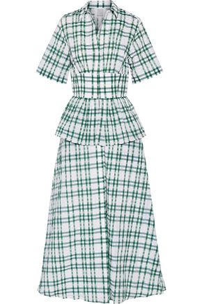 ROSIE ASSOULIN Boogie Woogie Bugle Boy checked seersucker organza maxi dress