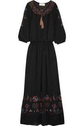 THE GREAT. Promenade embroidered crepe maxi dress