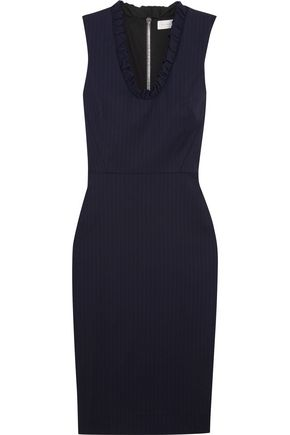 VICTORIA BECKHAM Ruffled pinstriped stretch-poplin dress