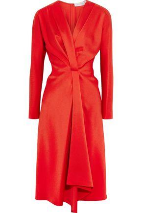 VICTORIA BECKHAM Wrap-effect satin-crepe midi dress