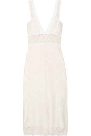 VICTORIA BECKHAM Cotton-trimmed wool-blend lace midi dress