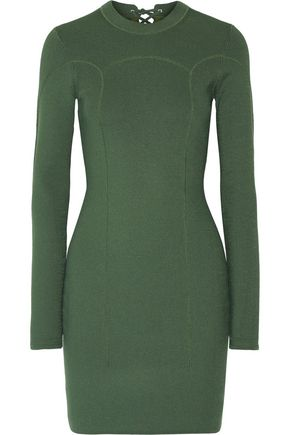 3.1 PHILLIP LIM Lace-up ribbed stretch-knit mini dress